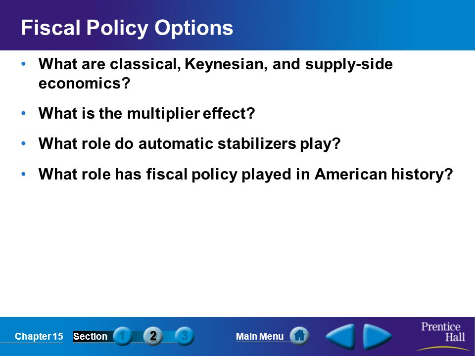Fiscal Policy Options What are classical, Keynesian, and supply-side economics What is the multiplier effect