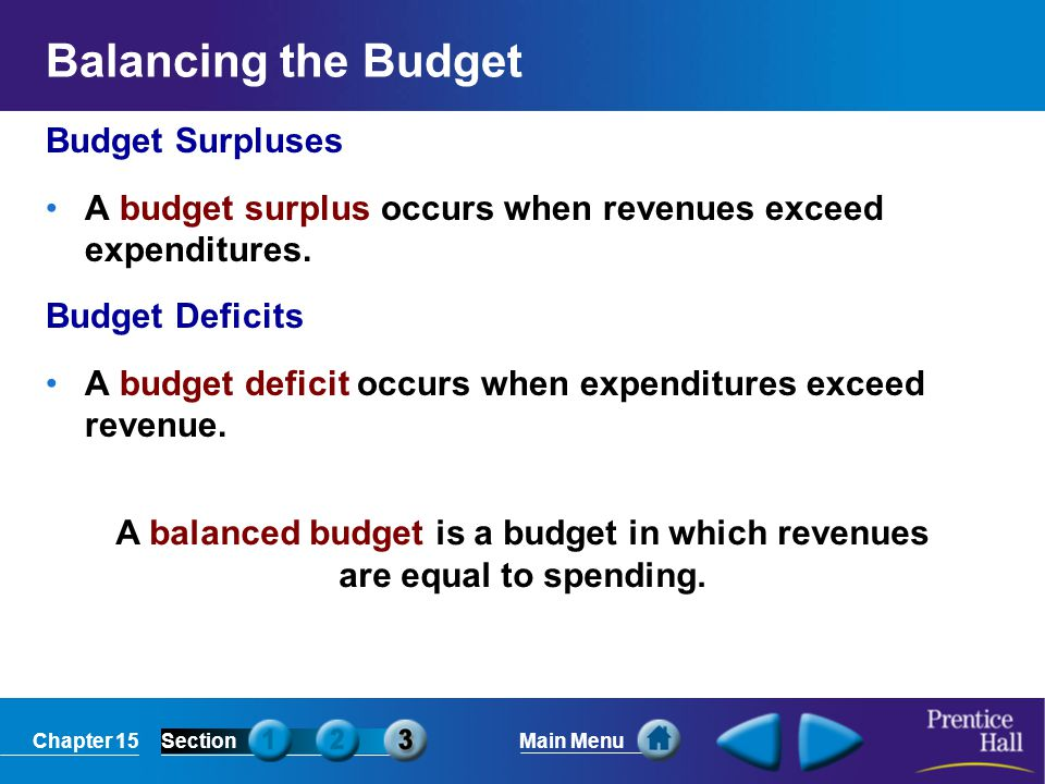 A balanced budget is a budget in which revenues are equal to spending.