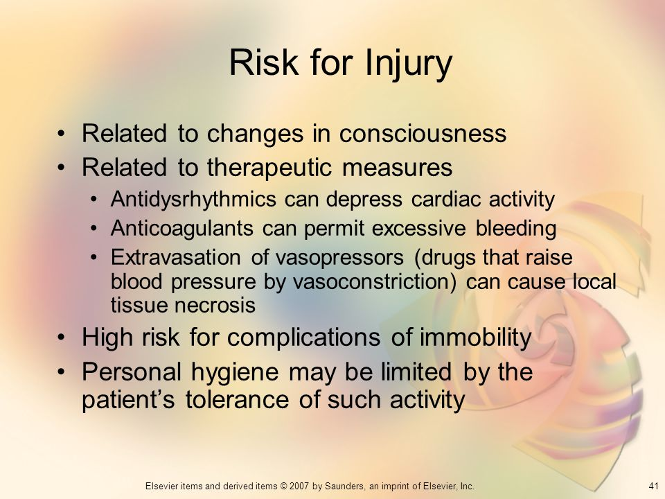 Risk for Injury Related to changes in consciousness