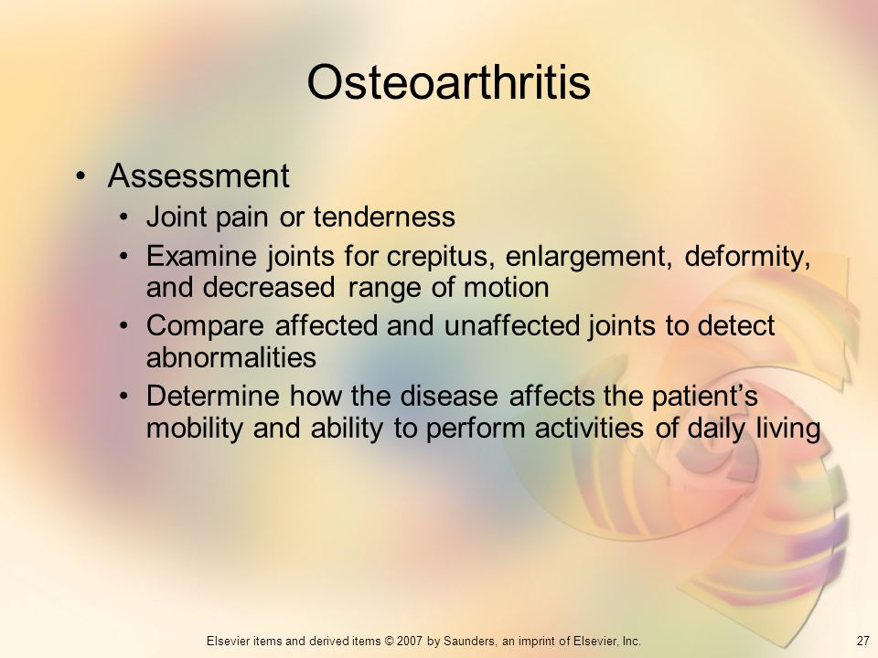 Osteoarthritis Assessment Joint pain or tenderness