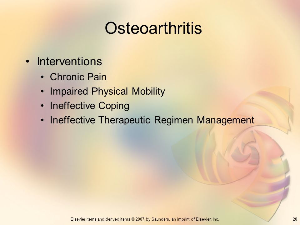 Osteoarthritis Interventions Chronic Pain Impaired Physical Mobility