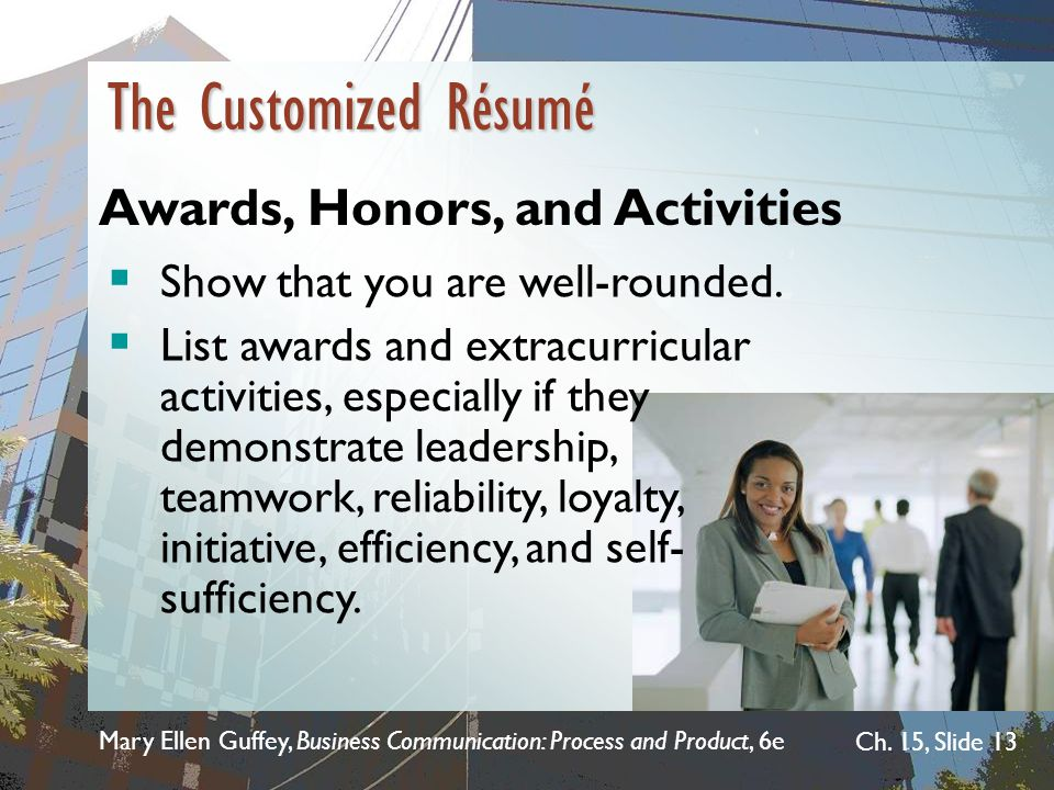 The Customized Résumé Awards, Honors, and Activities