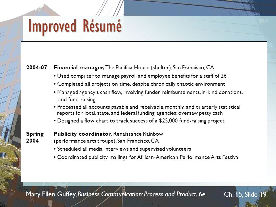 Improved Résumé 2004-07 Financial manager, The Pacifica House (shelter), San Francisco, CA.