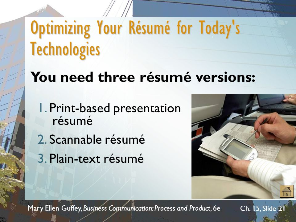 optimizing your career with the electronic resume database A resume objective usually forms the opening paragraph of your resume, and is thus extremely important in making a first impression whether from the angle of an actual reader of the resume or for electronic search functions, the first paragraph of any document has great relevance and must be focused and accurate.