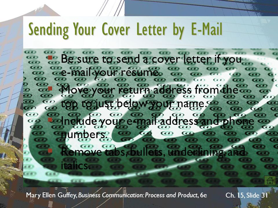 Sending Your Cover Letter by E-Mail