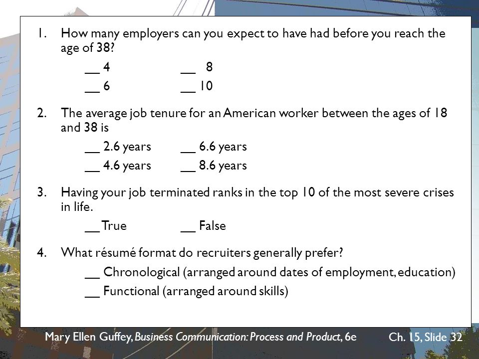 1. How many employers can you expect to have had before you reach the age of 38