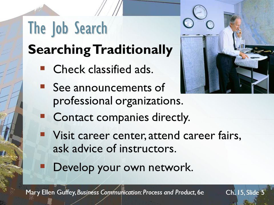 The Job Search Searching Traditionally Check classified ads.