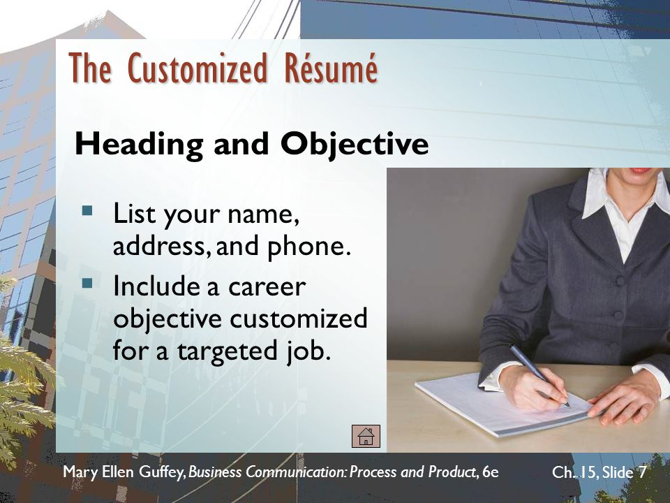 The Customized Résumé Heading and Objective