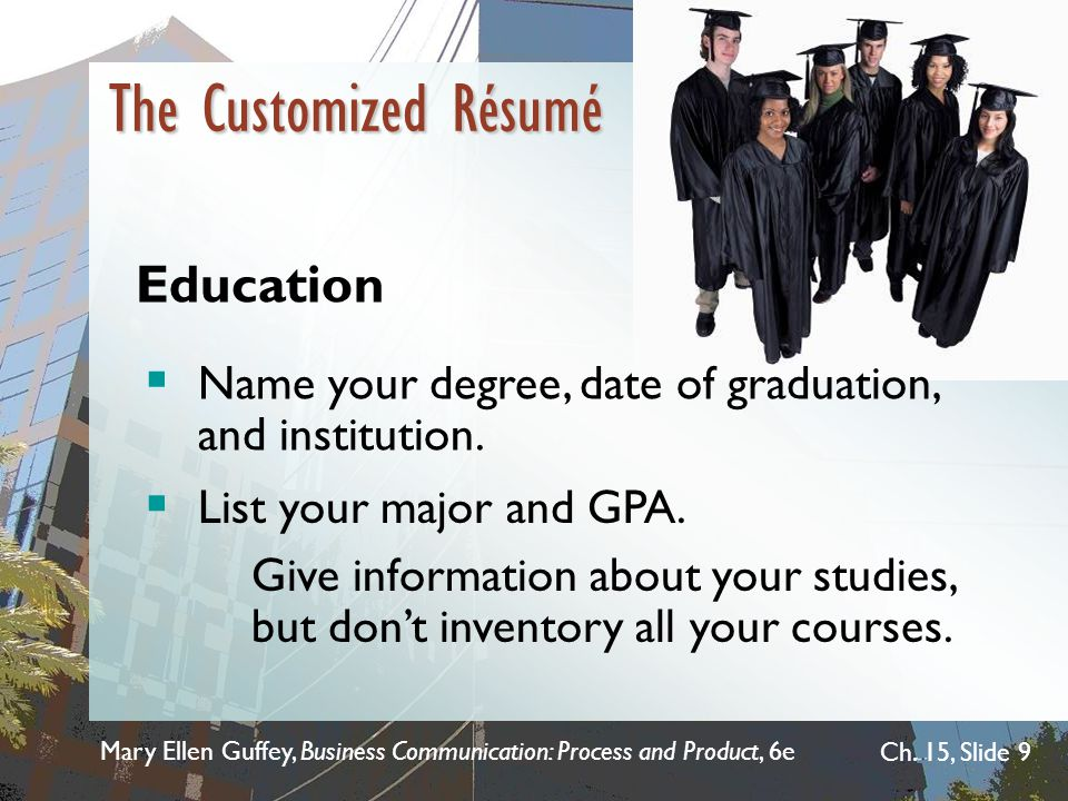 The Customized Résumé Education