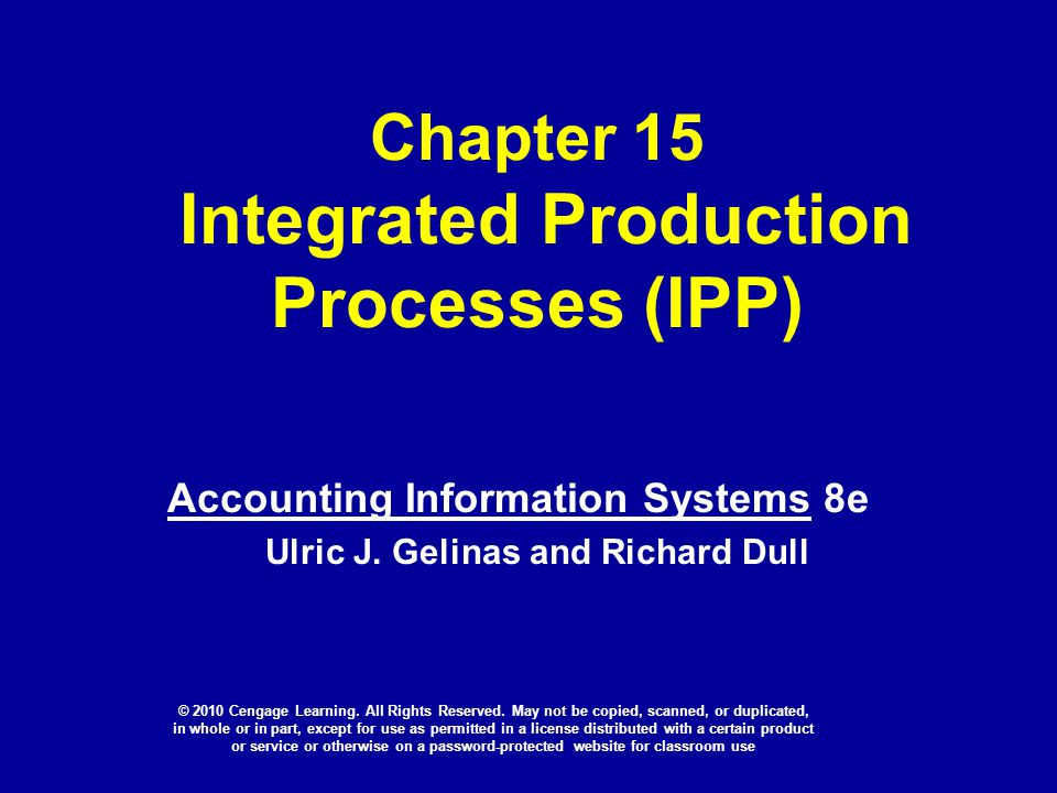 Chapter 15 Integrated Production Processes (IPP)