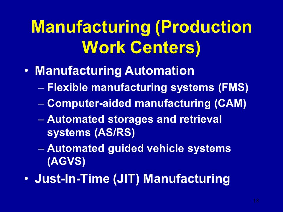 Manufacturing (Production Work Centers)