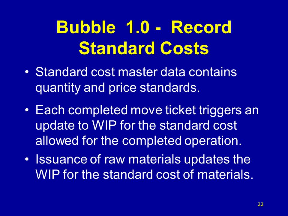 Bubble 1.0 - Record Standard Costs