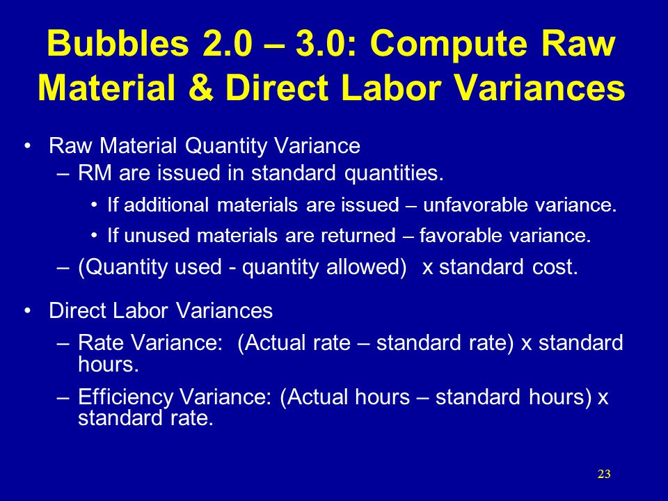 Bubbles 2.0 – 3.0: Compute Raw Material & Direct Labor Variances