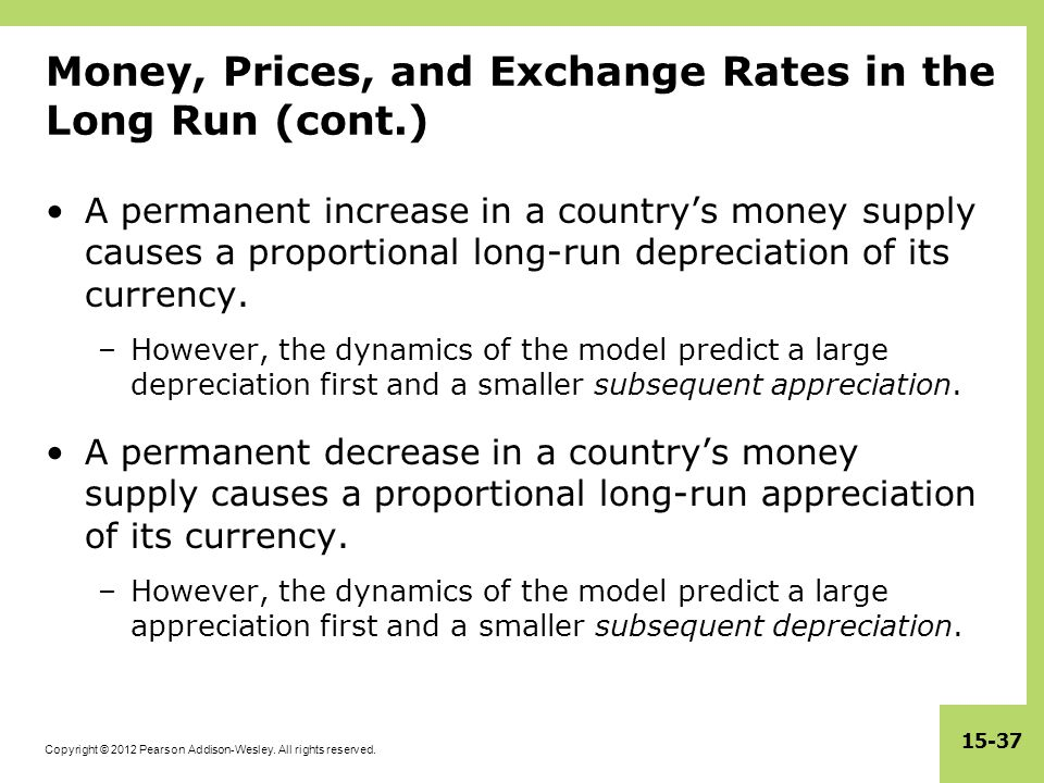 Money, Prices, and Exchange Rates in the Long Run (cont.)