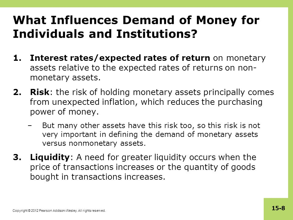 What Influences Demand of Money for Individuals and Institutions