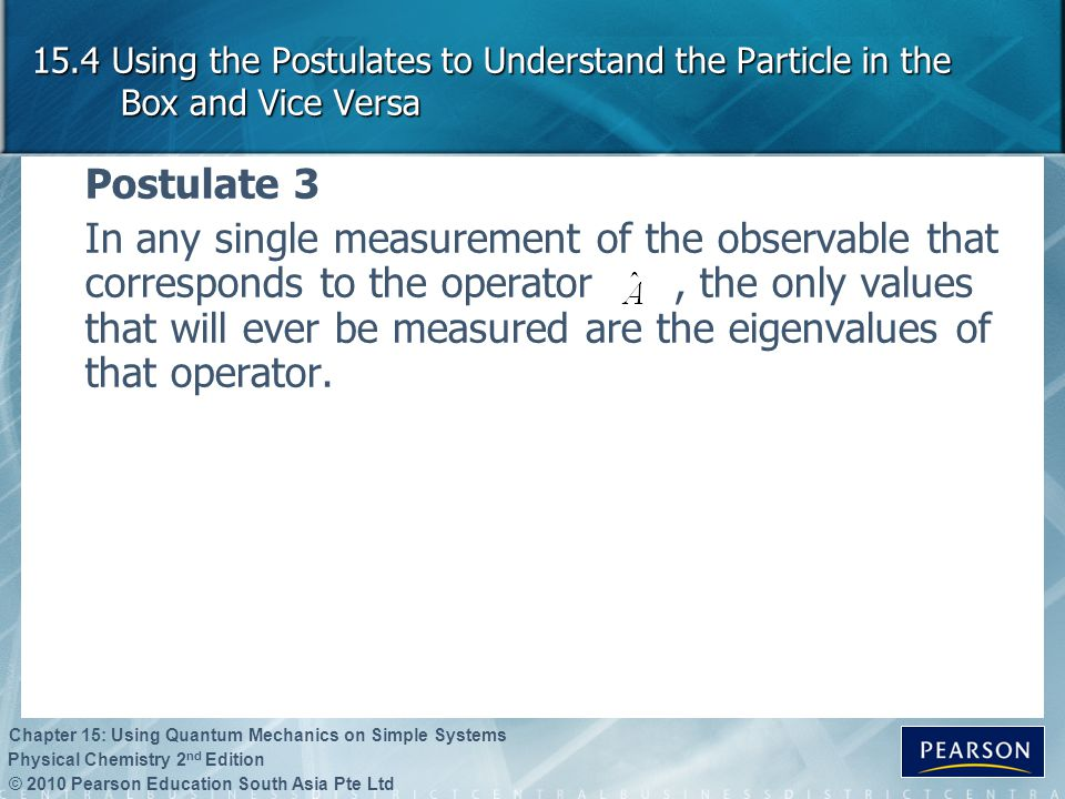 15.4 Using the Postulates to Understand the Particle in the Box and Vice Versa