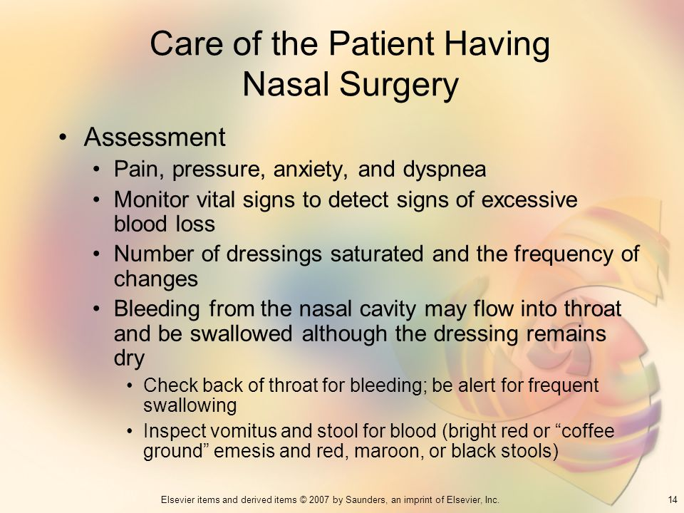 Care of the Patient Having Nasal Surgery
