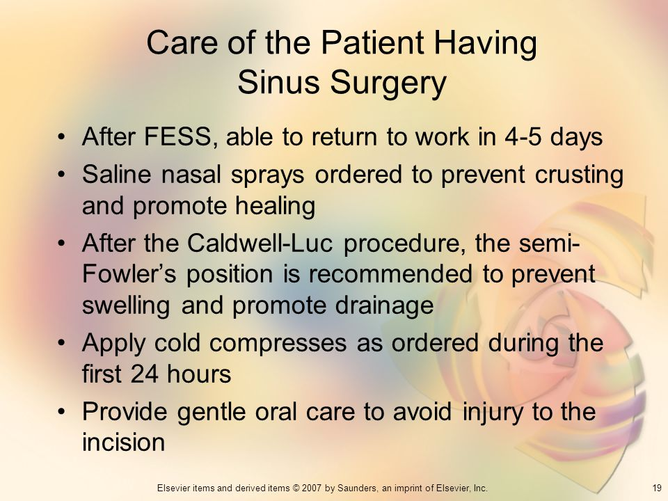 Care of the Patient Having Sinus Surgery