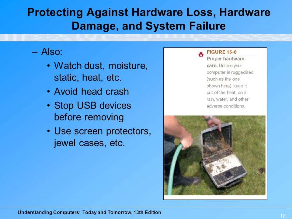 Protecting Against Hardware Loss, Hardware Damage, and System Failure