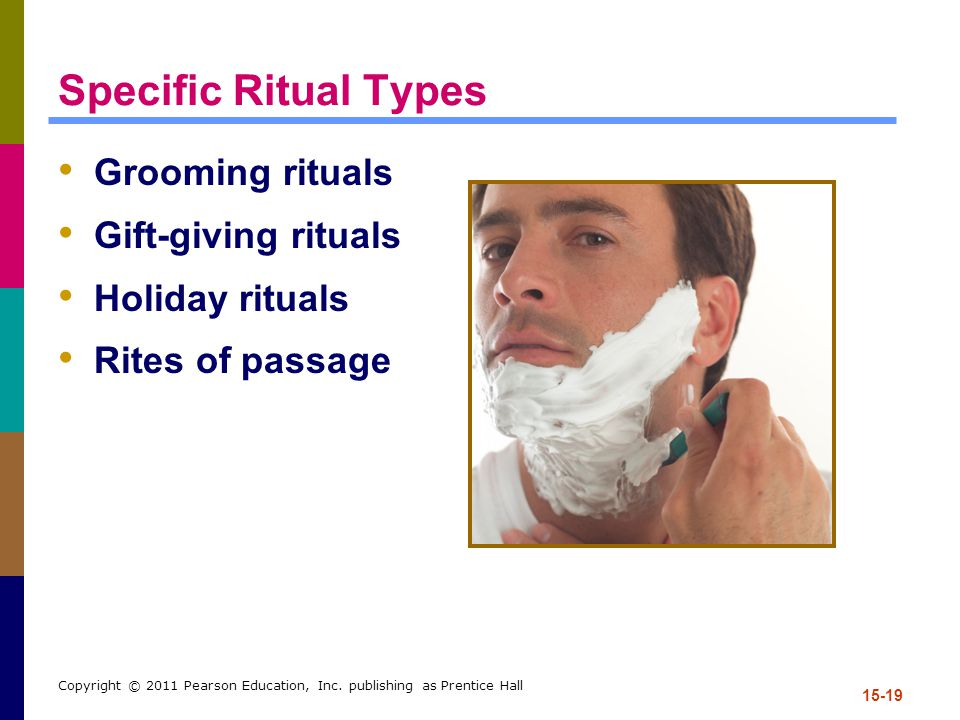 Specific Ritual Types Grooming rituals Gift-giving rituals