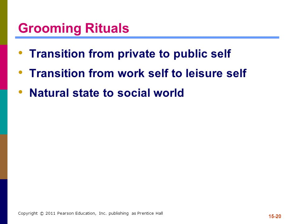 Grooming Rituals Transition from private to public self