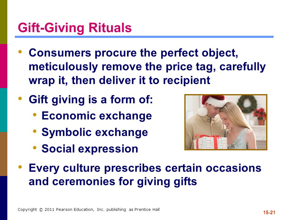 Gift-Giving Rituals Consumers procure the perfect object, meticulously remove the price tag, carefully wrap it, then deliver it to recipient.