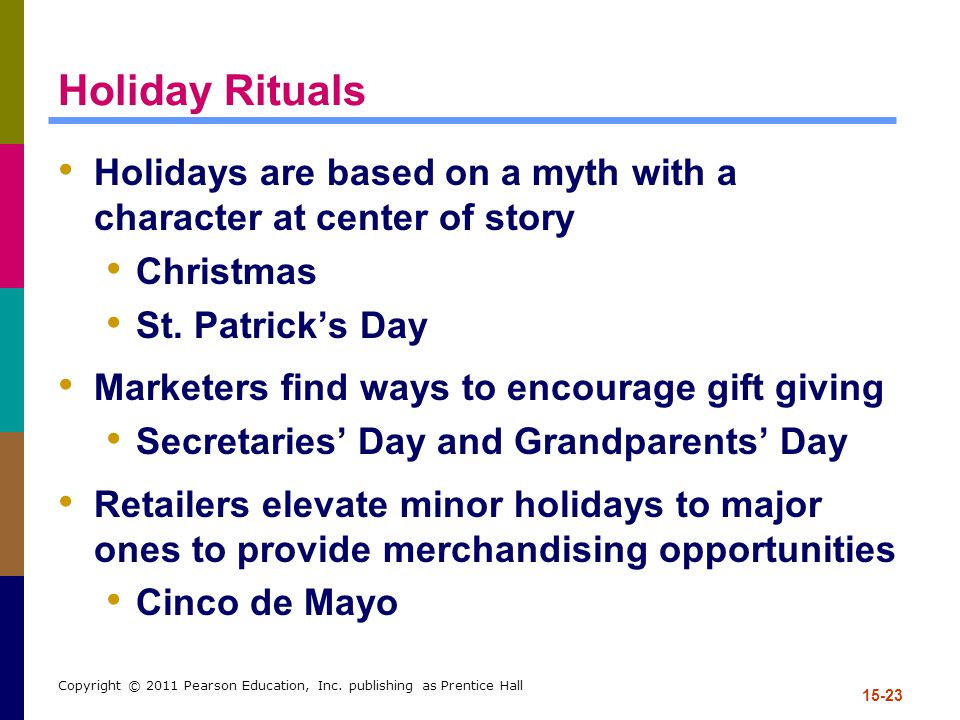 Holiday Rituals Holidays are based on a myth with a character at center of story. Christmas. St. Patrick's Day.