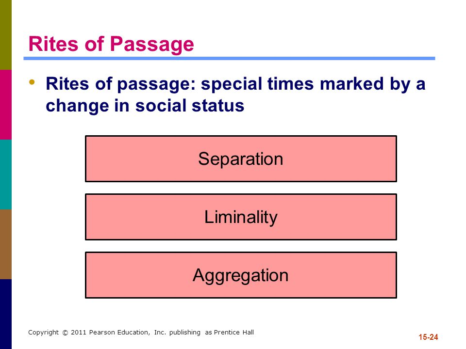 Rites of Passage Rites of passage: special times marked by a change in social status. Separation. Liminality.