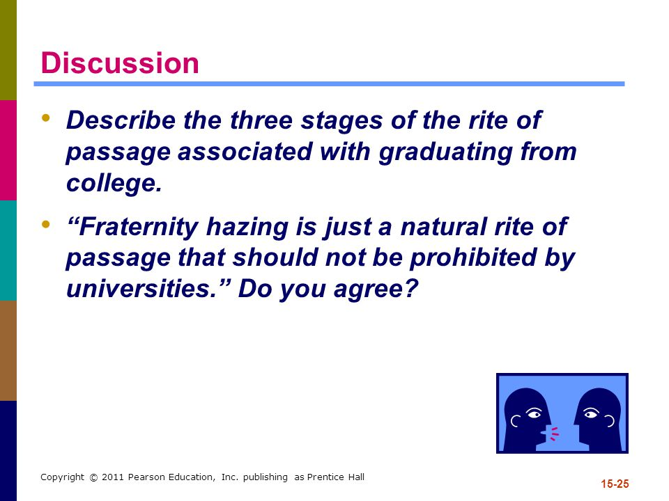 Discussion Describe the three stages of the rite of passage associated with graduating from college.