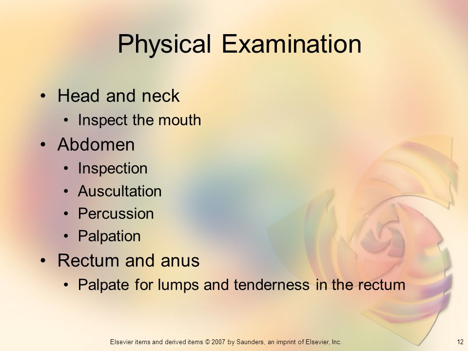 Physical Examination Head and neck Abdomen Rectum and anus