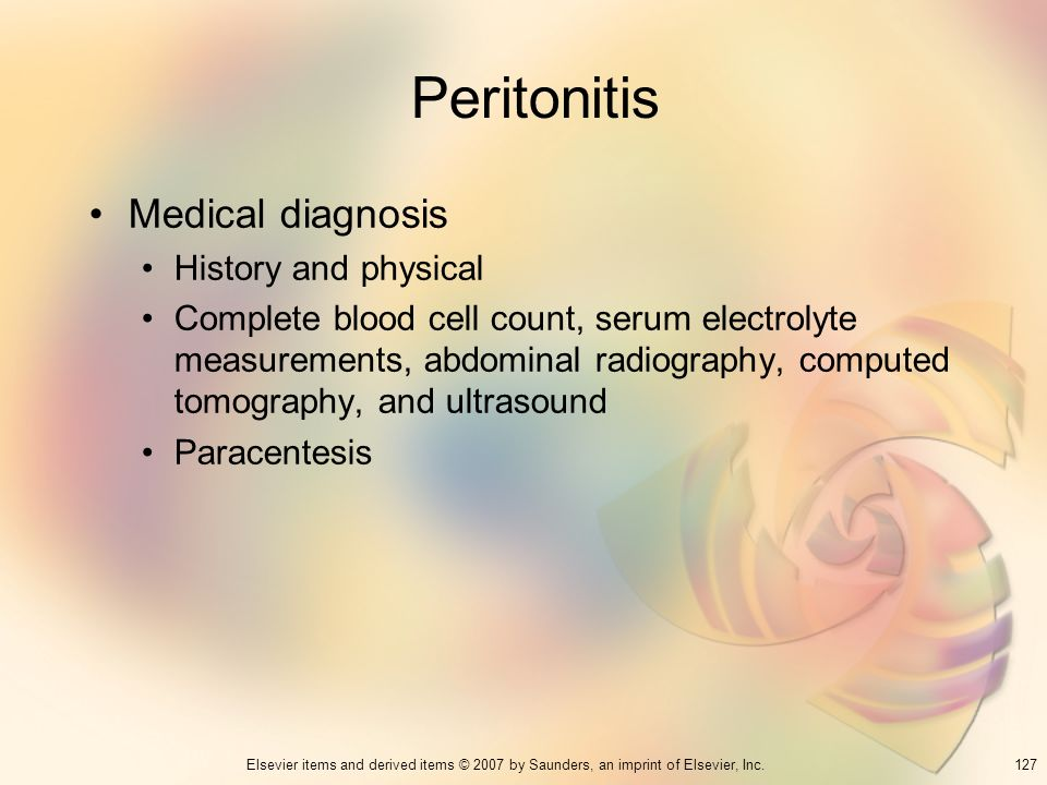 Peritonitis Medical diagnosis History and physical