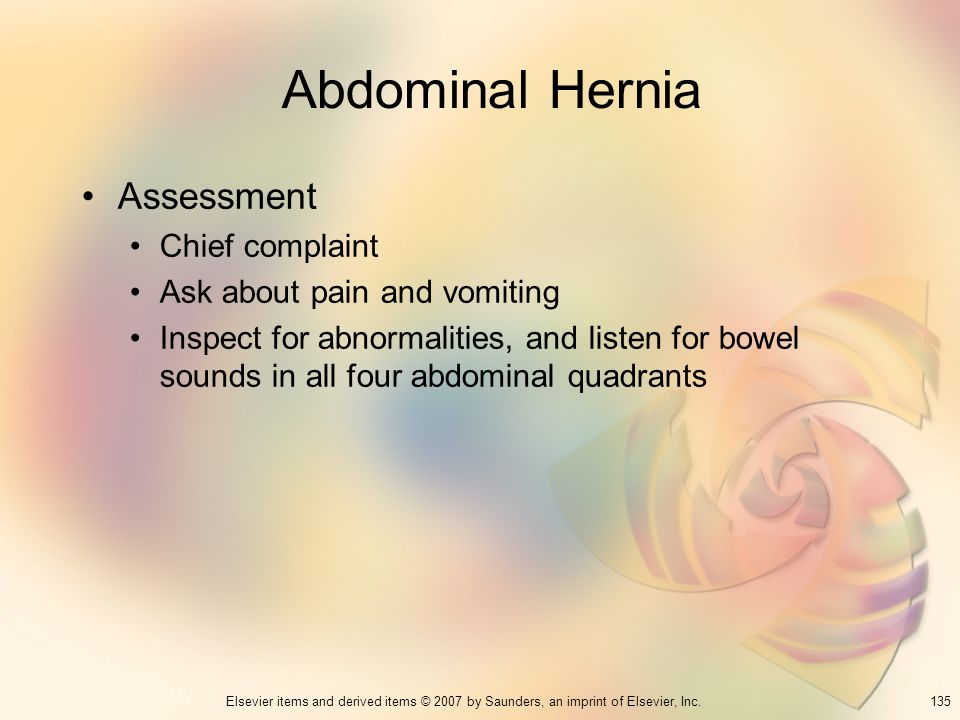 Abdominal Hernia Assessment Chief complaint