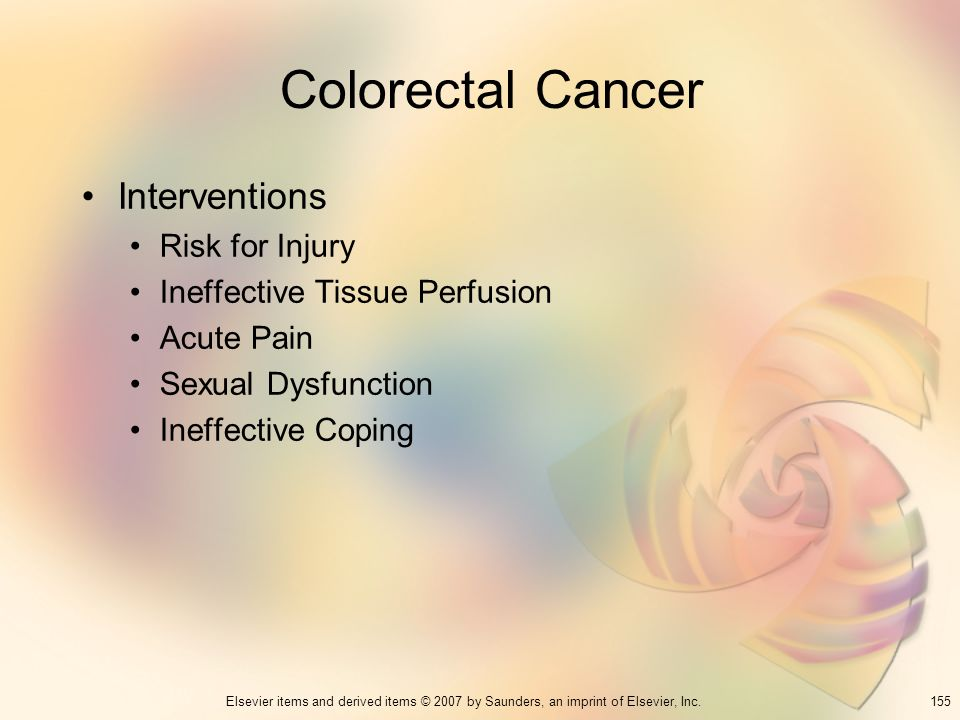Colorectal Cancer Interventions Risk for Injury