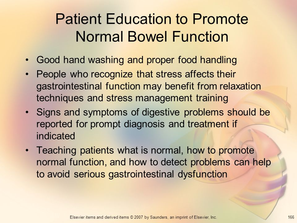 Patient Education to Promote Normal Bowel Function