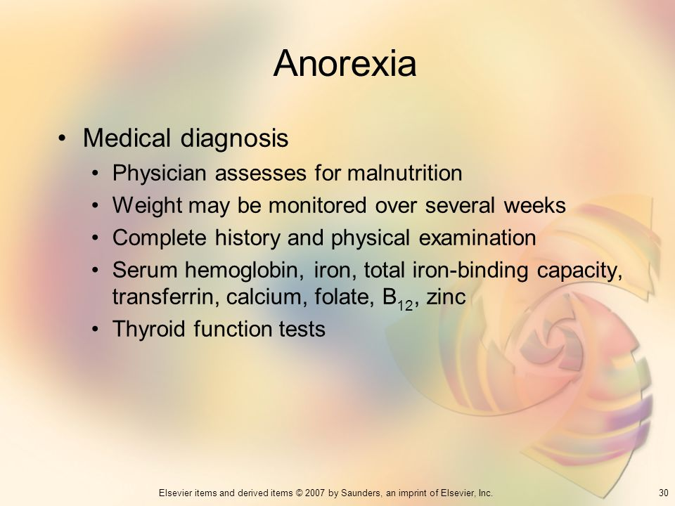 Anorexia Medical diagnosis Physician assesses for malnutrition