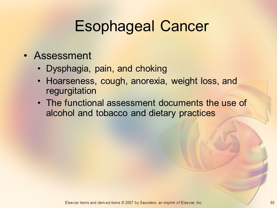 Esophageal Cancer Assessment Dysphagia, pain, and choking