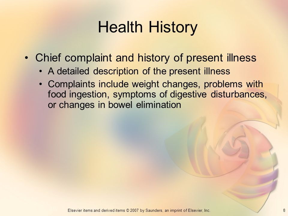 Health History Chief complaint and history of present illness