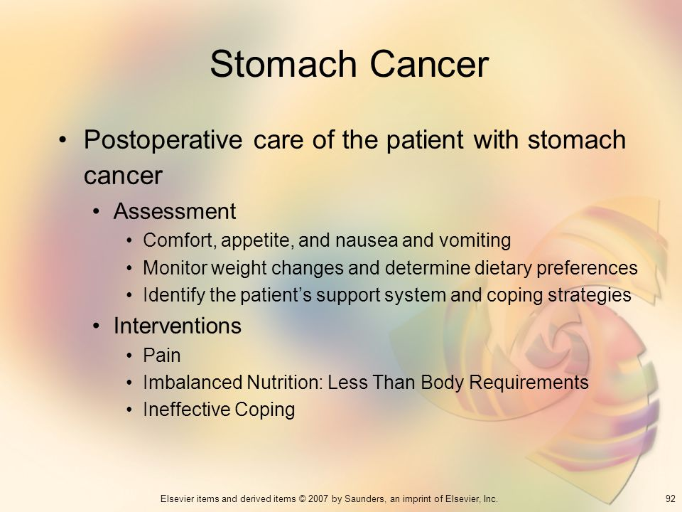Stomach Cancer Postoperative care of the patient with stomach cancer