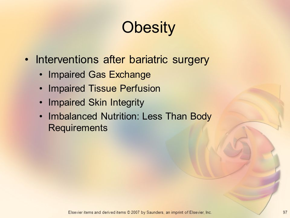 Obesity Interventions after bariatric surgery Impaired Gas Exchange