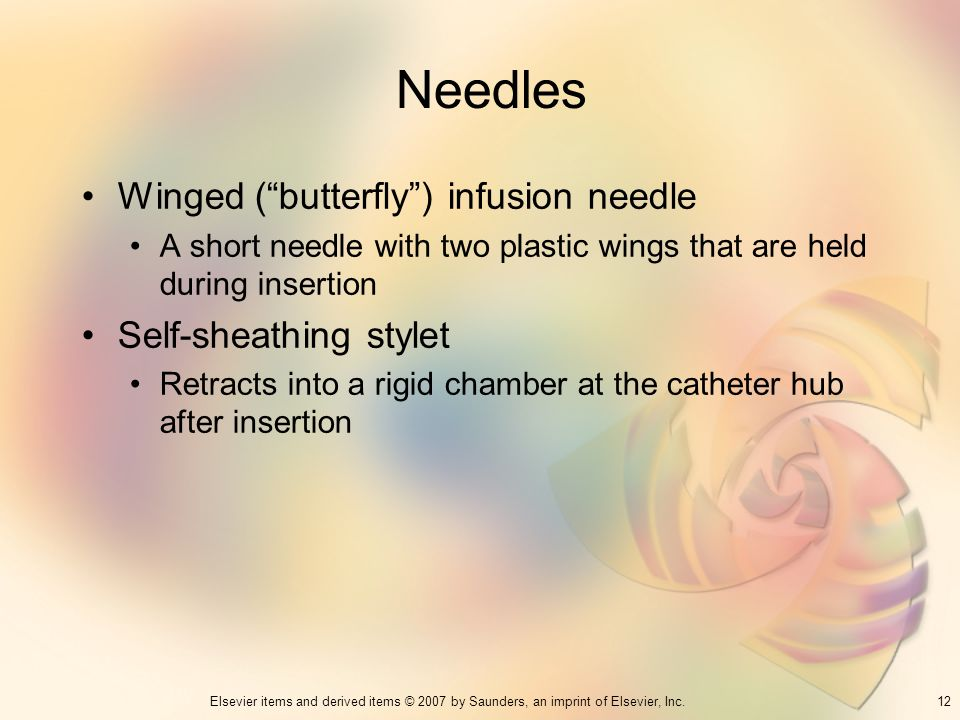 Needles Winged ( butterfly ) infusion needle Self-sheathing stylet