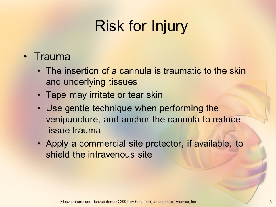Risk for InjuryTrauma. The insertion of a cannula is traumatic to the skin and underlying tissues. Tape may irritate or tear skin.