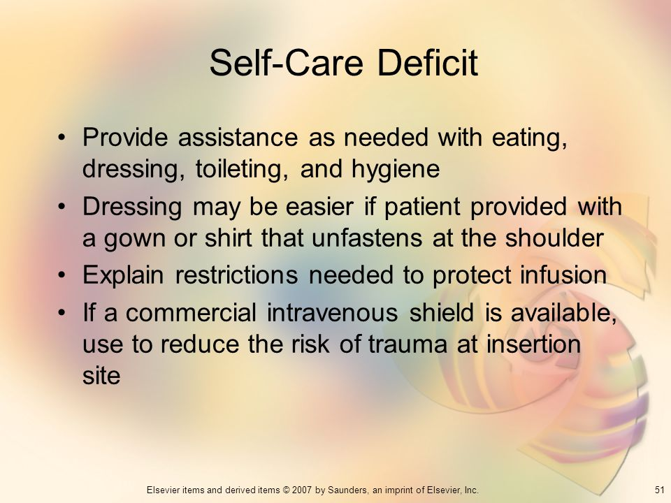 Self-Care Deficit Provide assistance as needed with eating, dressing, toileting, and hygiene.