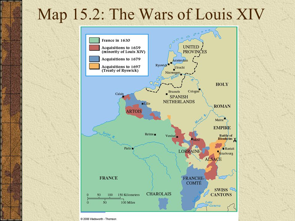 Map 15.2: The Wars of Louis XIV