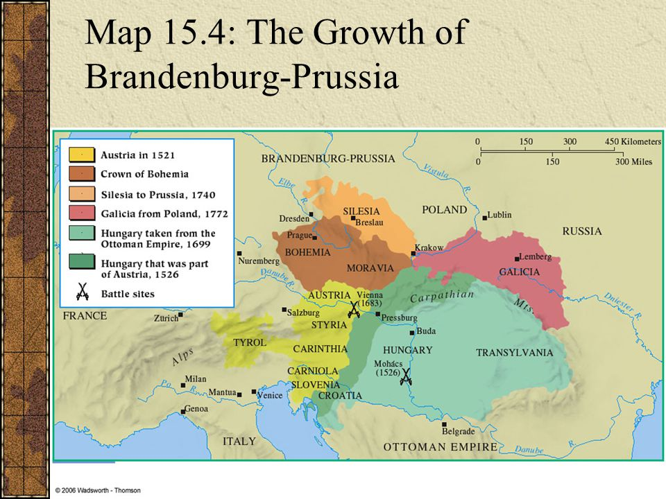 Map 15.4: The Growth of Brandenburg-Prussia
