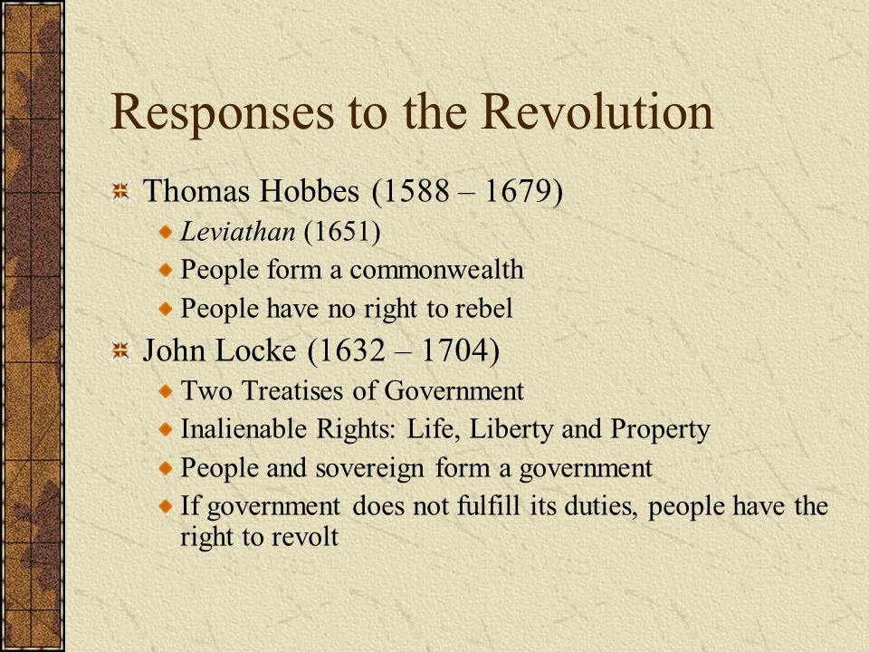 Responses to the Revolution