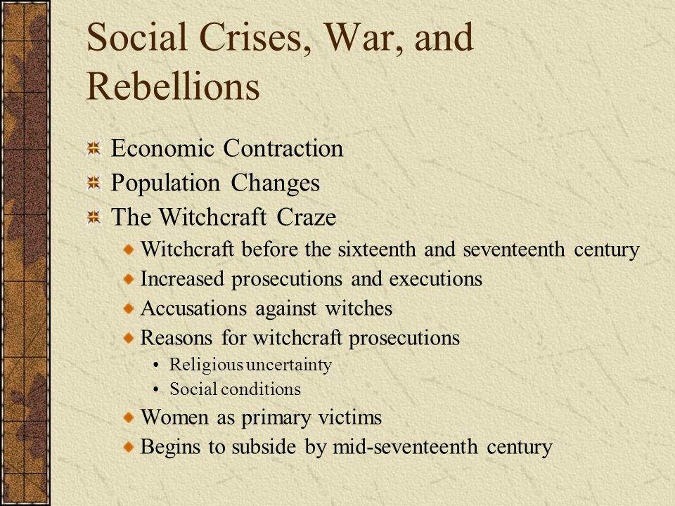 Social Crises, War, and Rebellions
