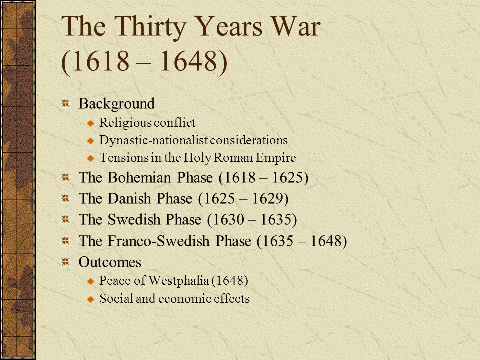 The Thirty Years War (1618 – 1648)