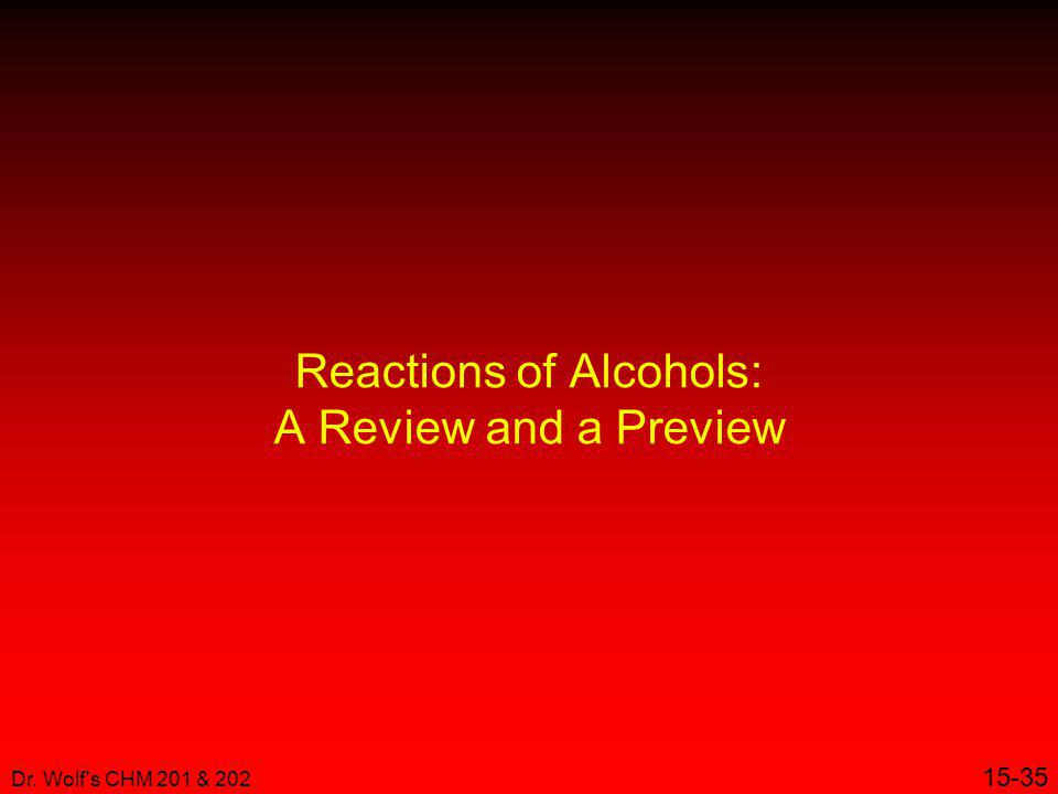 Reactions of Alcohols: A Review and a Preview