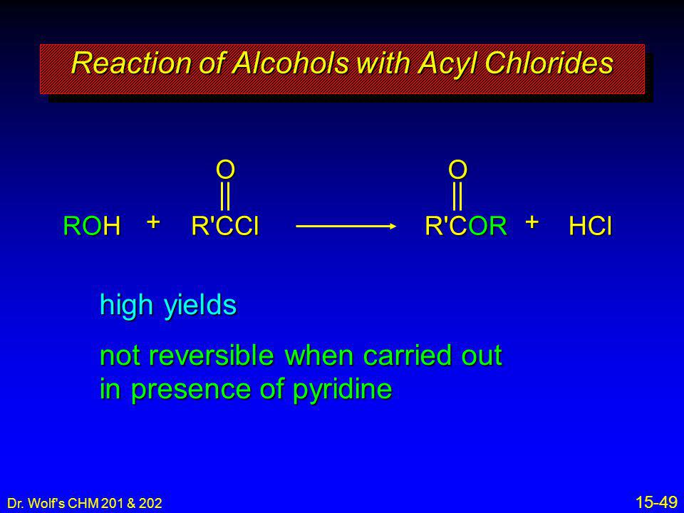 Reaction of Alcohols with Acyl Chlorides