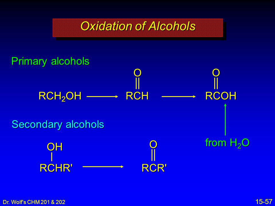 Oxidation of Alcohols Primary alcohols O O RCH2OH RCH RCOH